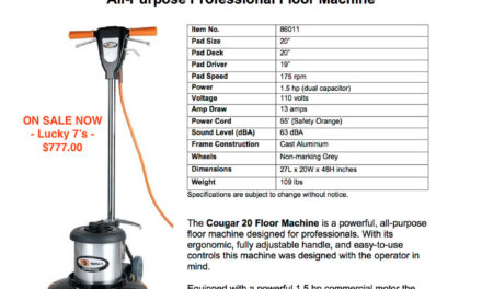 Cougar 2022 Floor Machine – $777.00