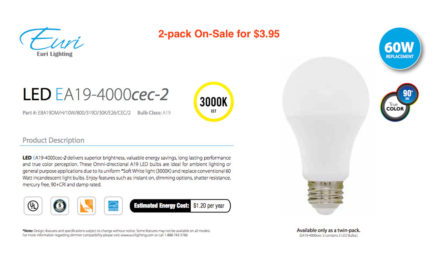 LED A19 Two Pack – $3.95